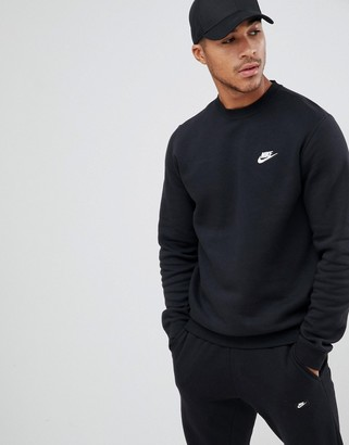 Nike Club swoosh crew neck sweat in black BV2662