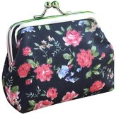 Mikey Store Women Retro Vintage Flower Small Wallet Hasp Purse Clutch Bag