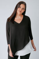 Yours Clothing Black & White Cross Over Blouse