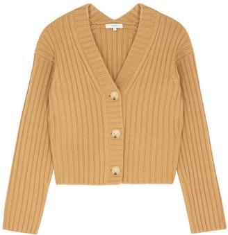 Vince Brown Ribbed Wool-blend Cardigan