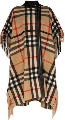 Burberry Leather Piped Checked Cape