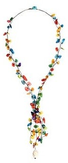 Aeravida Handmade Festive Mixed Colors Dyed Mother of Pearl Shells and Stone Lariat Necklace