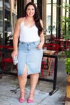 Forever 21 FOREVER 21+ Plus Size Slit Denim Skirt