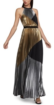 BCBGMAXAZRIA Metallic Colorblocked Gown