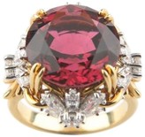 Tiffany & Co. & Co.18k Yellow Gold & Platinum Schlumberger Pink Tourmaline and Diamond Flower Ring Size 4.75