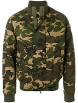 Balmain Camouflage Bomber Jacket - Green - Size XL