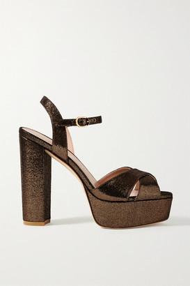 Stuart Weitzman Soliesse Lame Sandals - Bronze
