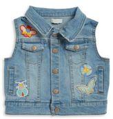 Margherita Kids Girls' Patch Accented Denim Vest