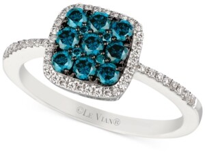 LeVian Le Vian White and Blue Diamond Ring (5/8 ct. t.w.) in 14k White Gold