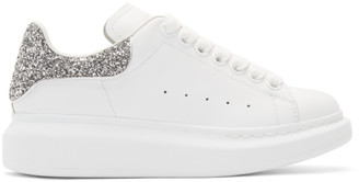 Alexander McQueen SSENSE Exclusive White and Silver Glitter Oversized Sneakers