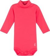 Petit Bateau Cotton jersey onesie with a polo shirt collar