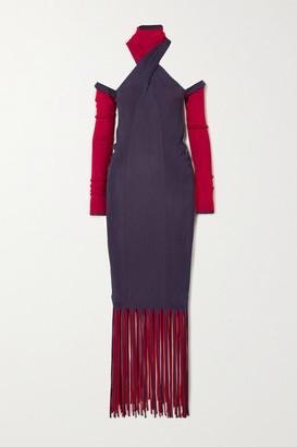 Bottega Veneta Cutout Fringed Ribbed Stretch-knit Dress - Purple