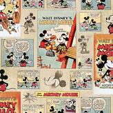 Disney Mickey Mouse Vintage Wallpaper Sample- Multicoloured