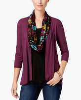 NY Collection Petite Layered-Look Scarf Top