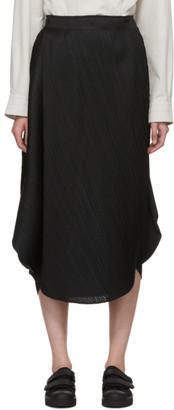 Pleats Please Issey Miyake Black Curved Pleats Skirt