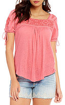 Lucky Brand Square-Neck Embroidered Knit Top