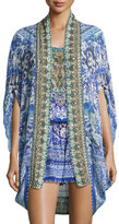 Camilla Open-Front Embellished Silk Cardigan/Cape Coverup, Guardian Of Secrets