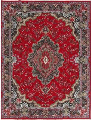 Berrier Soft Plush Floral Kerman Persian Red/Black Area Rug World Menagerie