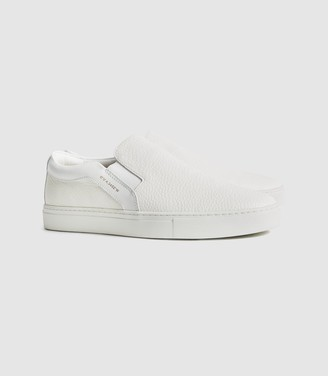 Reiss Weston - Leather Slip On Trainers in White