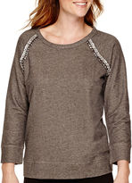 Liz Claiborne Raglan-Sleeve Jeweled-Shoulder Sweatshirt - Tall
