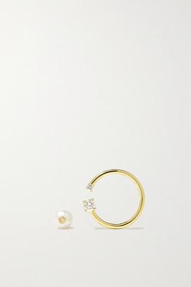 KatKim Loraine Gold, Diamond And Pearl Earrings - one size