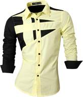 jeansian Men's Button Down Dress Shirts Tops 8397 L