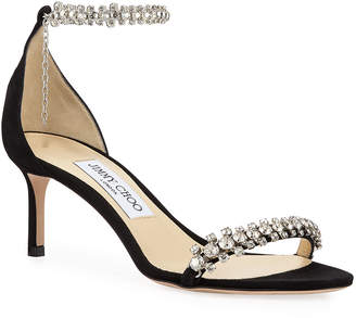 Jimmy Choo Shiloh Mid-Heel Crystal Anklet Sandals