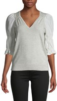 Rebecca Taylor Short-Sleeve Wool, Cashmere & Silk-Blend Blouse