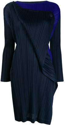 Pleats Please Issey Miyake two tone pleated dress