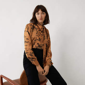 Warehouse INK PRINT SCARF NECK TOP