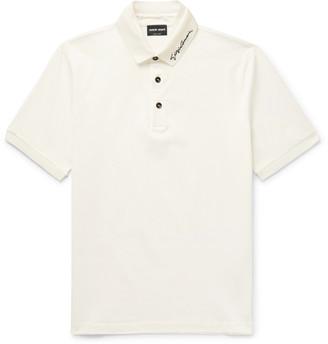 Giorgio Armani Slim-Fit Logo-Embroidered Stretch-Cotton Pique Polo Shirt