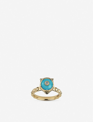Gucci Le Marche des Merveilles 18ct yellow-gold, turquoise and diamond ring
