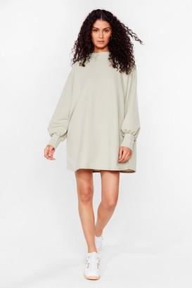 Nasty Gal Womens Move Oversized Sweatshirt Dress - Sage
