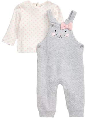 Little Me Kitty Face Long Sleeve Tee & Pointelle Overalls Set