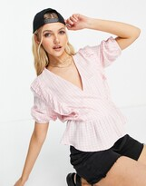 Thumbnail for your product : New Look frill wrap blouse in pink gingham