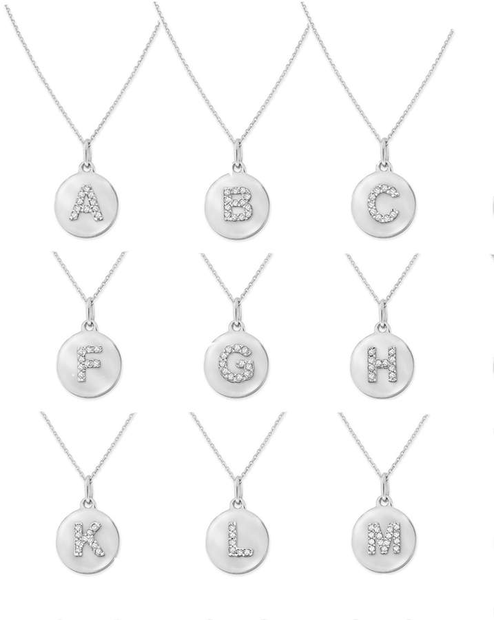 KC Designs 14k White Gold Diamond Disc Initial Necklace