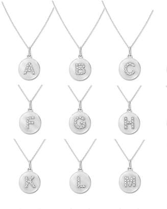 Kc Designs 14k White Gold Diamond Disc Initial Necklace