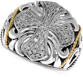 Effy Balissima by Diamond Cross Ring (1/4 ct. t.w.) in Sterling Silver and 18k Gold
