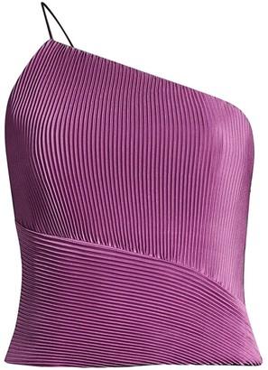 Flor Et. Al Claire Asymmetric Pleated Silk Top