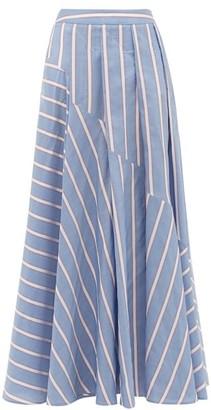Palmer Harding Palmer//harding - Sunda Ribbon-stripe Poplin Skirt - Womens - Blue Multi