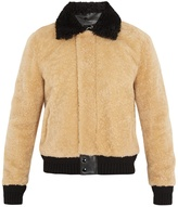 Saint Laurent Contrast-trim shearling bomber jacket