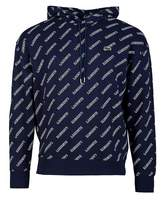 Lacoste Live Overhead All Over Logo Hooded Sweatshirt Colour: NAVY, Si