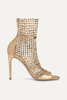 Rene Caovilla Crystal-embellished Mesh And Metallic Leather Sandals - Gold