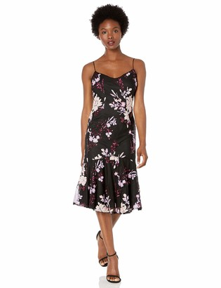 Adrianna Papell Women's Petite Floral Sequin Midi Dress with Trumpet Hem