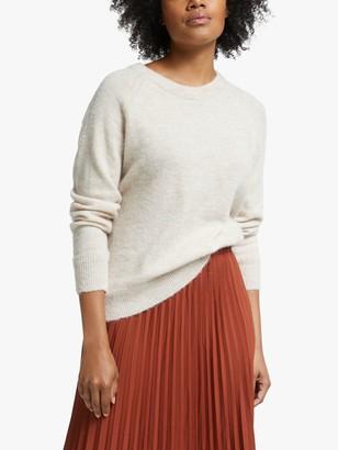 Selected Lulu Wool Alpaca Blend Long Sleeve Jumper, Birch Melange