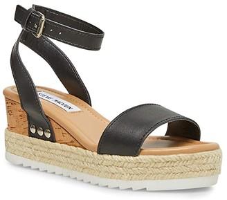 Steve Madden Jewell Wedge Sandal (Black Leather) Women's Shoes