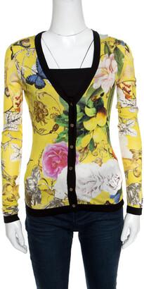 Roberto Cavalli Yellow Wonderland Print Silk Knit Button Front Cardigan S