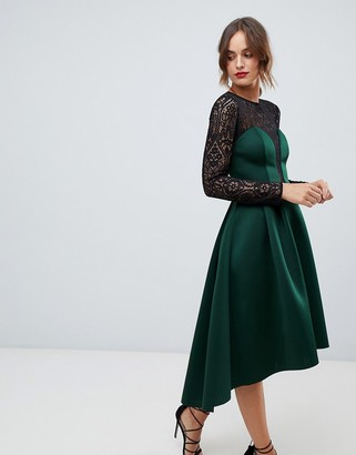 Asos Design DESIGN long sleeve lace top prom midi dress-Green