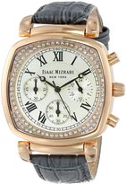Isaac Mizrahi Women's IMN54G Rose Gold Cushion Crystal Case Leather Croco Embossed Leather Strap Watch