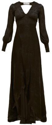Adriana Iglesias Bellagio Leopard-devore Chiffon Gown - Black